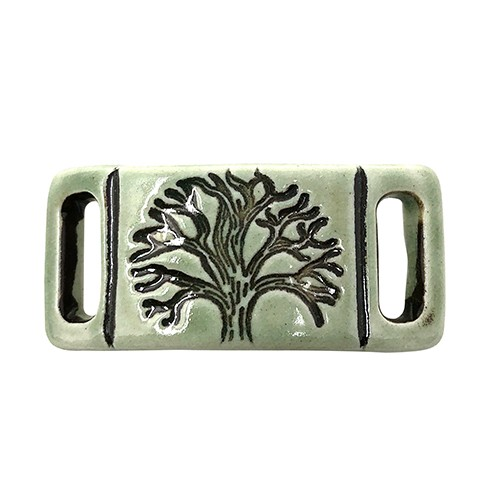 Clay River Porcelain Tree of Life 10mm Flat Bracelet Blank - Green Tea