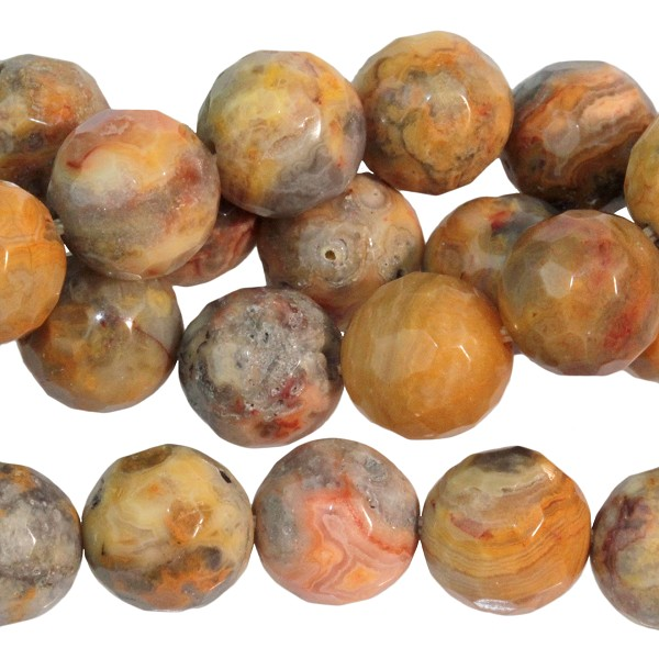 Crazy Lace Agate 10mm  Faceted Round  16""