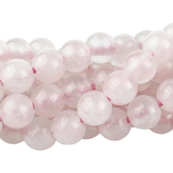 Rose Quartz 8mm Large Hole Round  8""