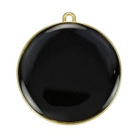 30Mm Round Pendant Epoxy Gold - Black - Per 2 Pieces