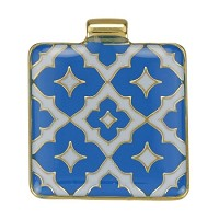 Square Pattern Pendant Epoxy Gold - Blue - Per 1 Piece