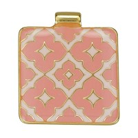 Square Pattern Pendant Epoxy Gold - Coral - Per 1 Piece