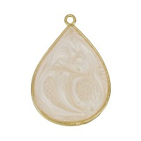 23Mm Teardrop Pendant Epoxy Gold - Pink Pearl - Per 2 Pieces