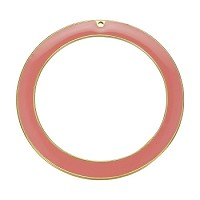 55Mm Ring Pendant Epoxy Gold - Coral - Per 2 Pieces