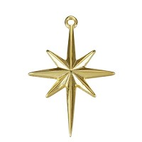 Compass Star Pendant Shiny Gold - per 10 pieces