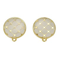 Round Tile Earring Post Gold Epoxy - White - Per 2 Pieces