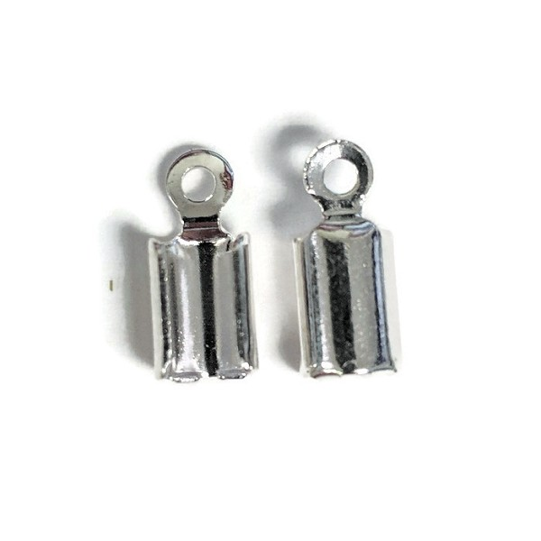 3mm Crimp End Cap Loop Cord End Clasp - Silver (2pcs)