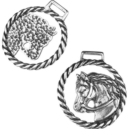 10mm Flat Horse Head Keychain - Antique Silver