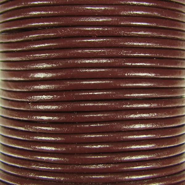 1.5mm Round Indian Leather Cord - Brown - per yard