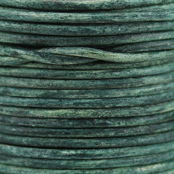 1.5mm Round Indian Leather Cord - Basil Green - per yard