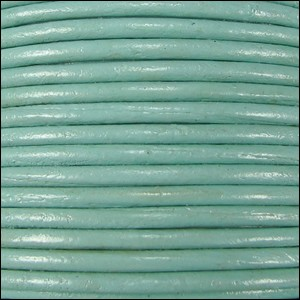 2mm Round Indian Leather Cord - Seafoam Green - per foot