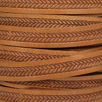 10mm Imprinted Braid Leather - Tan - per inch
