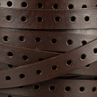 10mm Punched Leather - Brown - per inch