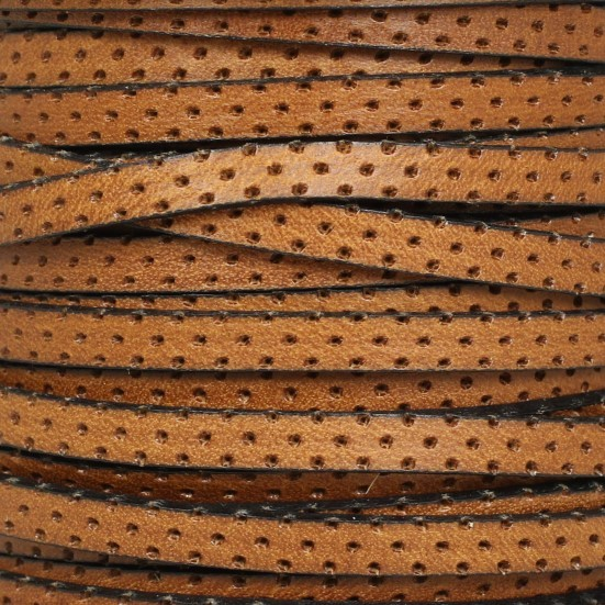 5mm Perforated Leather - Tan