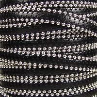 Ball Chain 10mm Flat Leather BLACK
