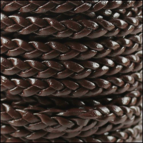 Braided 5mm FLAT Leather Cord per 10 Meter spool DARK BROWN