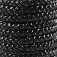 Braided 5mm FLAT Leather Cord BLACK - per inch