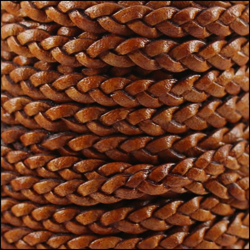Braided 5mm FLAT Leather Cord NAT LT BROWN