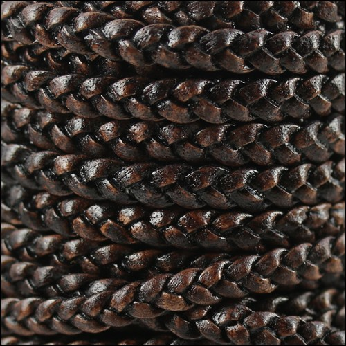 Braided 5mm FLAT Leather Cord NAT DARK BROWN - per inch
