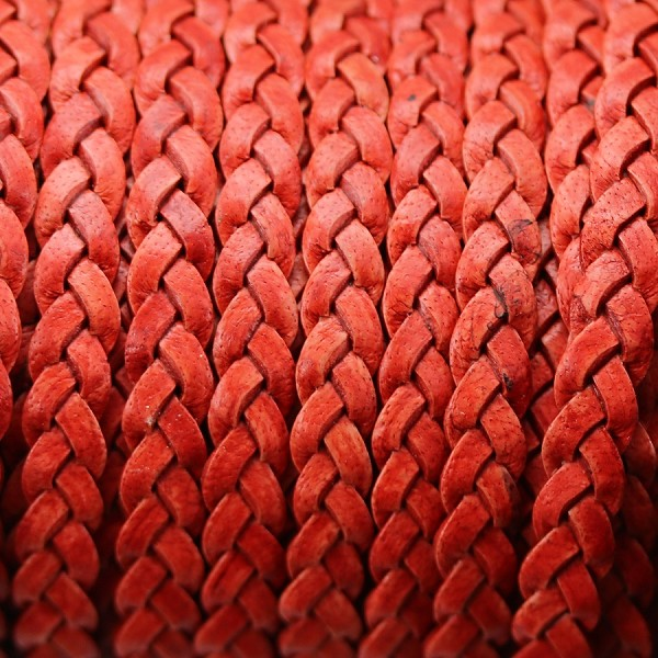 Braided 5mm FLAT Leather Cord NAT RED