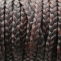 Braided 5mm FLAT Leather Cord NAT ANTIQUE BROWN