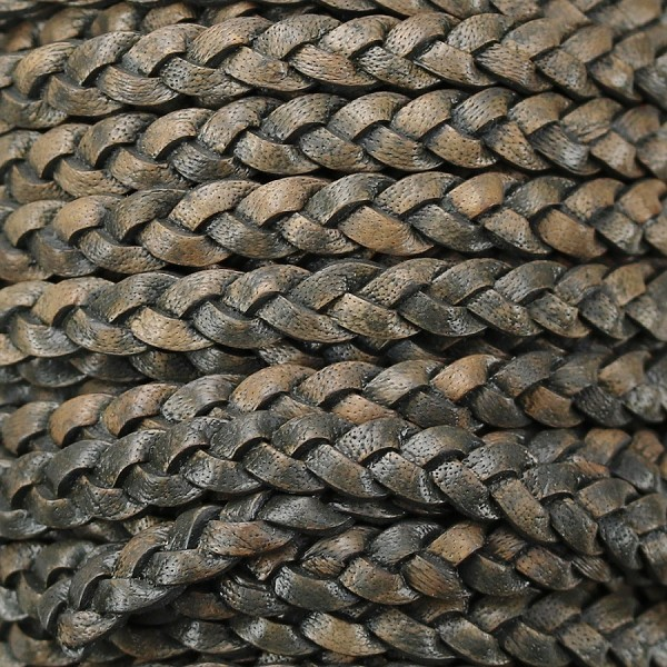 Braided 5mm FLAT Leather Cord NATURAL CHARCOAL - per inch
