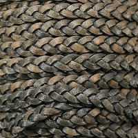 Braided 5mm FLAT Leather Cord NATURAL CHARCOAL