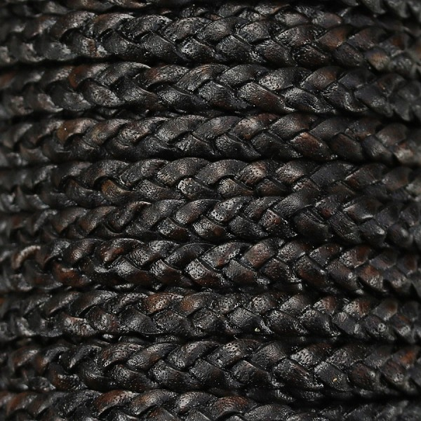 Braided 5mm FLAT Leather Cord NATURAL ESPRESSO