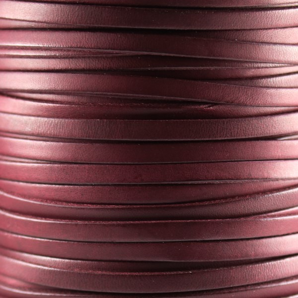 Bruciato 5mm Flat leather cord -  Burgundy