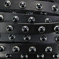 Flat 10mm DOME STUDDED leather BLACK