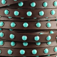 Flat 10mm DOME STUDDED leather BROWN + TURQUOISE