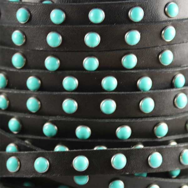 Flat 10mm DOME STUDDED leather BLACK + TURQUOISE - per inch