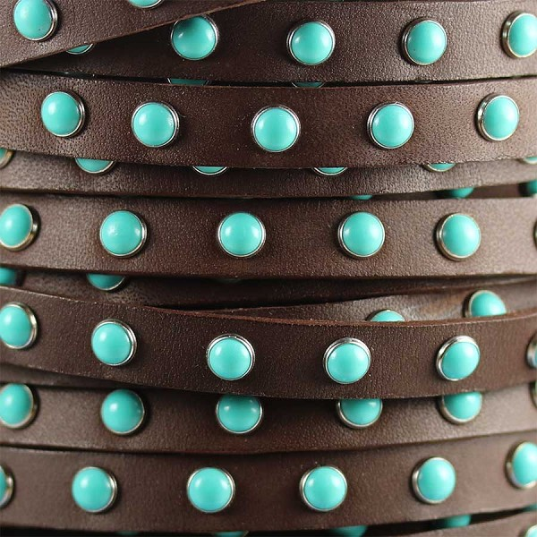 Flat 10mm DOME STUDDED leather BROWN + TURQUOISE  - per inch