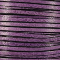 Embossed Floral 5mm Flat  leather PURPLE - per inch