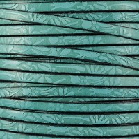 Embossed Floral 5mm Flat  leather TURQUOISE - per inch
