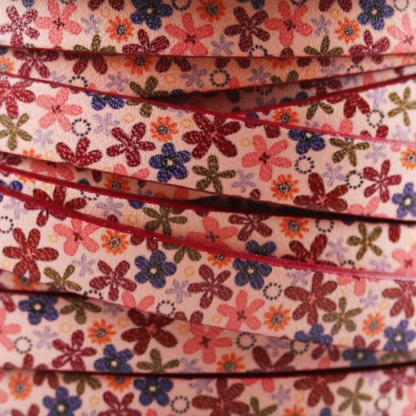 Ornate 10mm Flat Printed Italian leather PINK FLOWERS - per inch