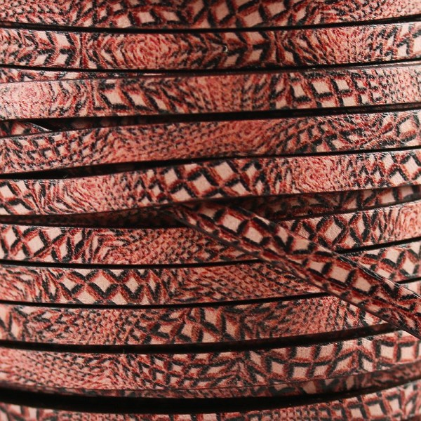 Ornate 5mm Flat Printed Italian leather HYPNOTIC ROSE - per inch
