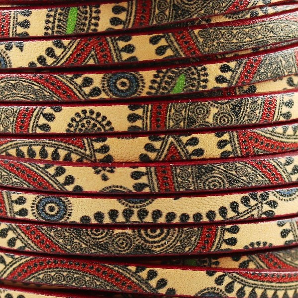Ornate 5mm Flat Printed Italian leather BOHO PAISLEY - per inch