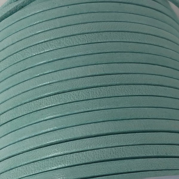3mm Flat Leather Cord per 5 Meters - Candy Turquoise