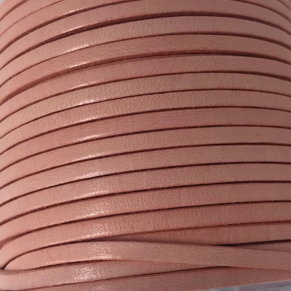 3mm Flat Leather Cord - Candy Pink - per inch