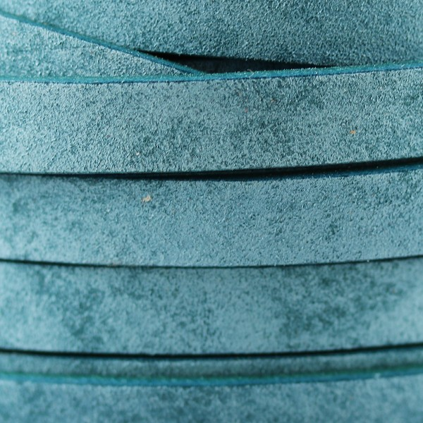 Vintage Shabby Chic 10mm Flat leather TURQUOISE - per inch