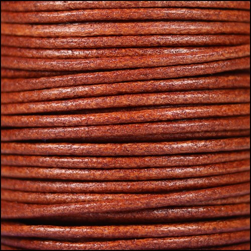 2mm Round Euro Leather Cord - Whiskey