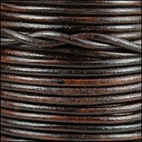 3mm Round Indian Leather Cord -Natural Dark Brown