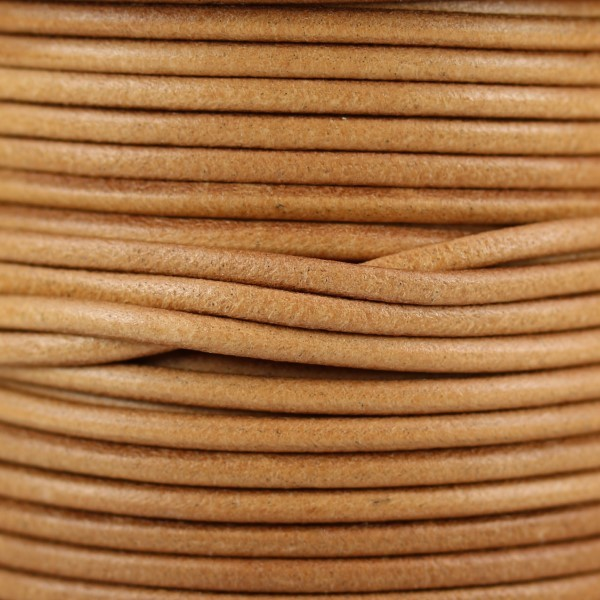 3mm Round Mediterranean Leather Cord - Natural - per inch