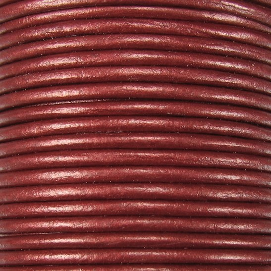 3mm Round Indian Leather Cord -Maroon Metallic - per inch