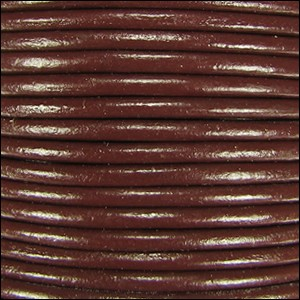 3mm Round Indian Leather Cord -Mahogany Brown - per inch
