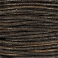 3mm Round Indian Leather Cord -Antique Brown - per inch