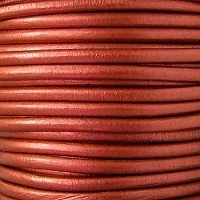 Euro 4mm Round Leather Cord - METALLIC COPPER - per inch