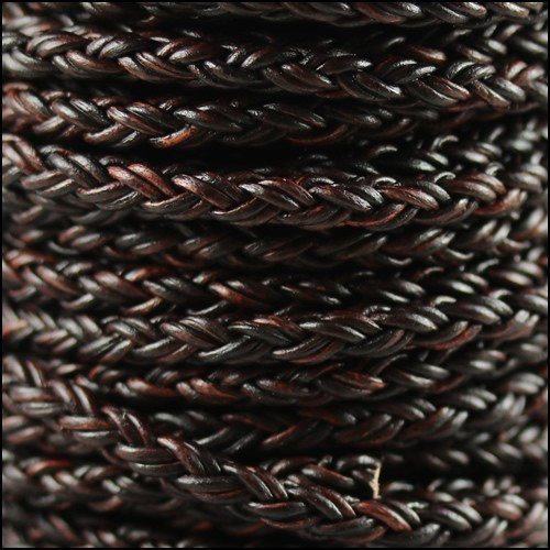 Bolo Braided 4mm Round NAT ANT BROWN  - per inch