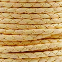 Round Mediterranean 3mm BRAIDED Leather CANDY YELLOW - per inch